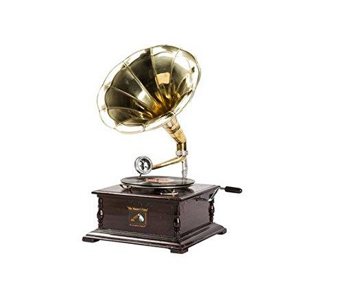 #03 GRAMMOFONO quadrato in legno, tromba in ottone, vintage - dischi vinile