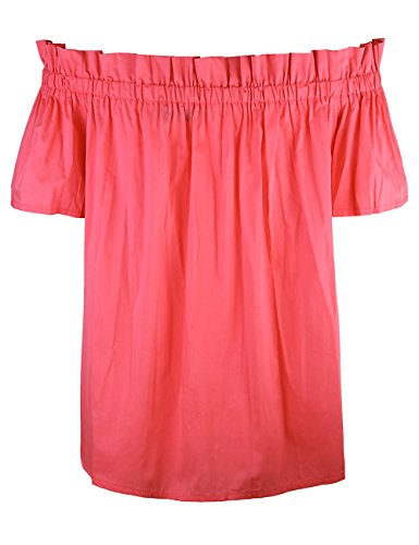 ISASSY Damen Schulterfreies Oberteil Sommer Bluse T-Shirt Party Shirt Tops Rot
