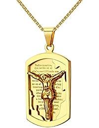 Croce in acciaio inossidabile Gesù Cristo Crocefisso Collana con pendente a  tag pendente religioso con catena 819bd6eaecc0