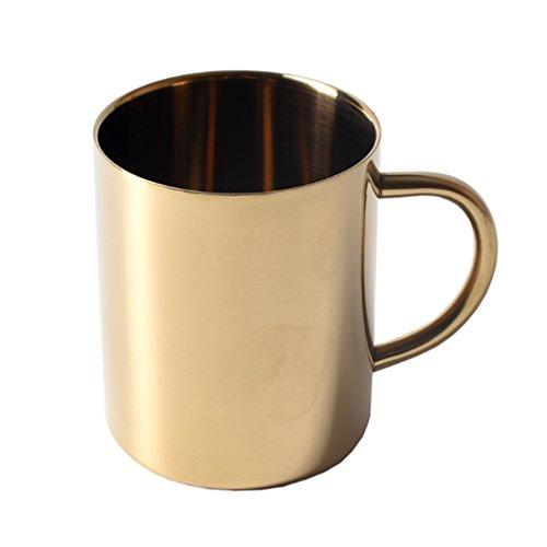 MagiDeal 400ml Bierkrug, Edelstahl Kaffeetasse, Tee/Bier/Kaffee/Latte/Milch Tasse, Edelstahl Becher Mit Griff für Reise Wandern - Gold, 400ml