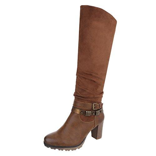 High Heel Stiefel Damen-Schuhe Klassischer Stiefel Pump High Heels Reißverschluss Ital-Design Stiefel Camel, Gr 37, 568-Gg-