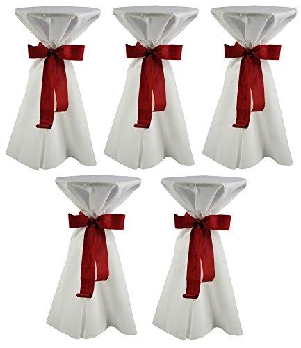 Sensalux, 5 Stehtischüberwürfe / die preisgünstige Alternative zur Husse, (nicht genäht) abwischbar - (Farbe nach Wahl), Tischdurchmesser 60-70 cm, Überwurf weiß Schleifenband bordeaux