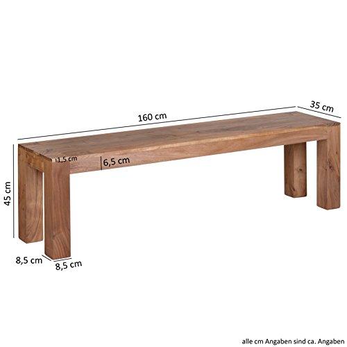 WOHNLING Esszimmer Sitzbank Massiv-Holz Akazie 160 x 45 x 35 cm Design Holz-Bank Natur-Produkt Küchenbank Landhaus-Stil dunkel-braun Bank 3-Sitzer für innen ohne Rücken-Lehne Echt-Holz unbehandelt