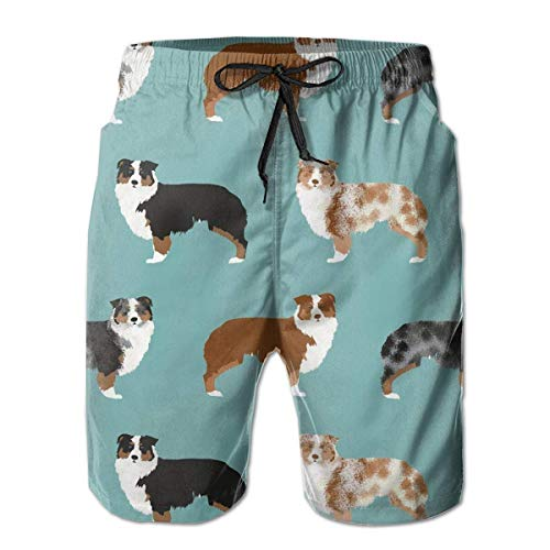 Mens Beach Shorts Quick Dry Surfing Badehose mit Taschen (Australian Shepherds Dogs) -
