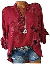 5c99856956b022 WWricotta Damen Chiffon Bluse V-Ausschnitt Locker Hemd Blusenshirt Lose  Casual Langarm Tunika Oversize Oberteile