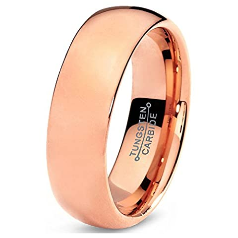 Tungsten Wedding Band Ring 5mm 7mm for Men Women Comfort Fit 18K Rose Gold Plated Plated Domed Polished FREE Custom Laser Engraving Lifetime Guarantee