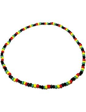 Cameleon-Shop, Rasta, ausziehbar-Perlen Kette Holzperlen-Länge 39 cm, schwarz, grün, gelb, rot