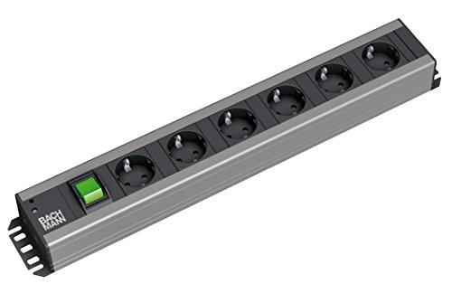 DWERKERLEISTE mit Steckdosenabstand 15mm mit 6xSchutzkonaktsteckdosen mit Schalter, Zuleitung 2,0m, Schwarz, 6-fach ()