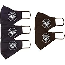 French Connection Men's Cotton Cloth Face Mask (Pack of 5) (XA6AE_Black & Marine Blue_L)