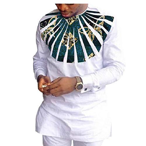 CuteRose Men 2-Piece African Wax Fabric Premium Fine Cotton Pants + Shirt Sets 12 S Velours-activewear-set