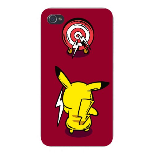 apple-iphone-custom-case-4-4s-white-plastic-snap-on-practice-time-funny-pocket-monster-anime-parody-