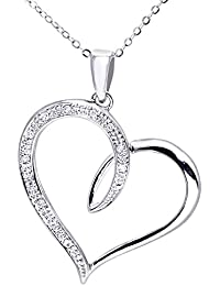 Naava Women's 9 ct White Gold Diamond Heart Pendant with 46 cm Trace Chain Necklace