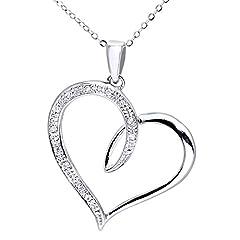 Idea Regalo - Naava Collana con Pendente da Donna, Oro Bianco, Diamante