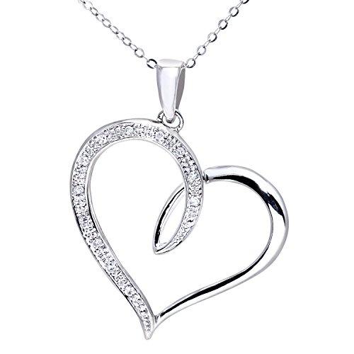 Naava Damen-Halskette 375 Weißgold 9 karat Diamant 0,06 ct weiß 46 cm Rundschliff