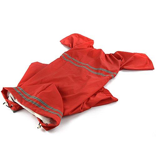Haustier Hund Wasserdicht Polyester Regen Slicker Regenmantel Haustier Tuch Kleidung Welpen Hoodie Kleidung Mantel Bekleidung Zubehör für 60 cm Zurück Länge 6XL Rot (Regenmantel Slicker Regen)