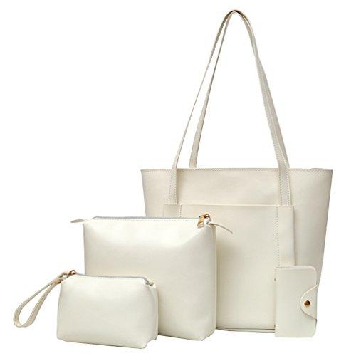 Anguang Damen Schultertasche Handtaschen Messenger Bags Karte Paket Sets Tasche Handtaschen Weiß