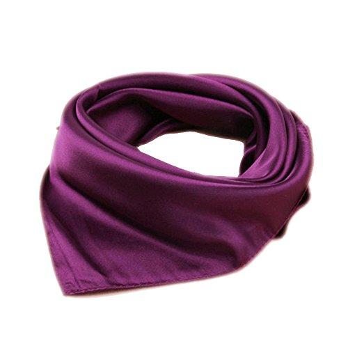roichic Bandana head scarf neck scarf Einfarbig aus Satin (Dunkel Violett) Satin Square Neck