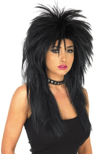 Black Spikey Glam Rock Women's Wig by Fun Shack