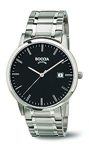 Boccia Reloj de hombre de cuarzo con Negro esfera analógica pantalla y pulsera de titanio (Plata b3588–03 de Boccia