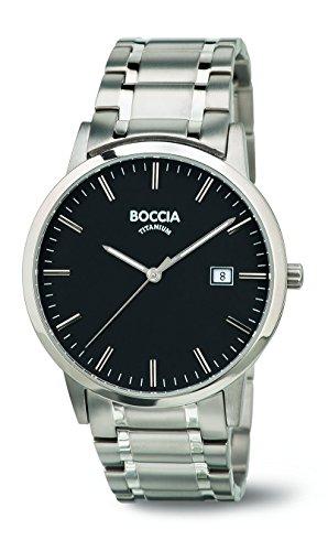Boccia-Orologio da uomo al quarzo con Display analogico e braccialetto in titanio 3588-03 B, colore: argento