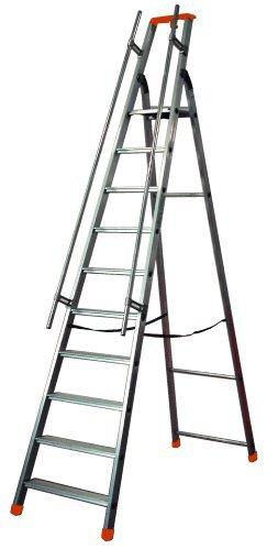 Scaletta doppia professionale in alluminio con parapetto - montanti di 60x24mm + mancorrenti di sicurezza