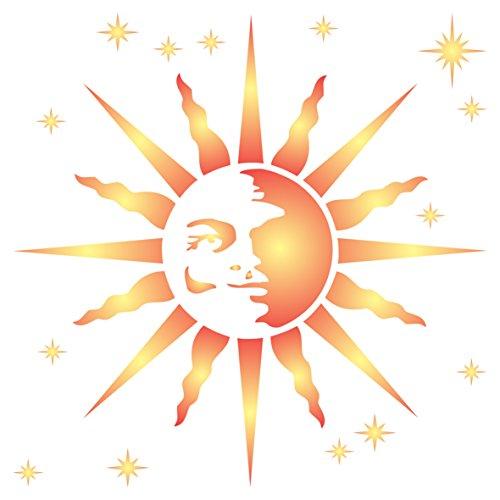 Retro Sun Schablone, wiederverwendbar, große Celestial Sonne Ray Wand-Vorlage, auf Papier Projekte Scrapbook Tagebuch Wände Böden Stoff Möbel Glas Holz etc, L