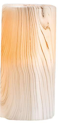 GILDE Echtwachs LED Kerze im Holzstil, 15x7 cm