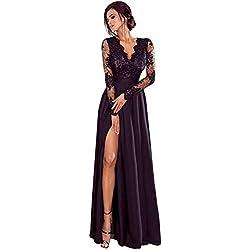 Vestidos Invierno Mujer, ❤️ Zolimx Faldas Largas Fiesta Negra Backless Vendaje de Manga Larga O Cuello de Encaje Vestido de Cóctel (Negro-2, Medium)