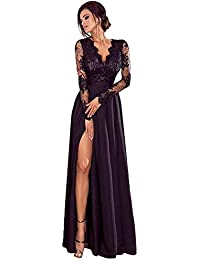62cd62c7e Kinlene Mujer Vestido-Vestido Largo Mujer para Noche y Fiesta Casual  Algodón Ropa Top Falda Espalada Descubirta Dama de Honor Sexy y…