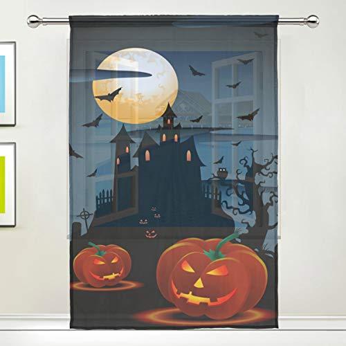 BIGJOKE Vorhang für Fenster, Halloween, Kürbis-Vorhänge, für Küche, Wohnzimmer, Schlafzimmer, Büro, Voile, 1 Stück, Multi, 55x84 inches