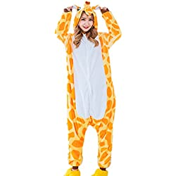 Pijama unicornio Disfraz Animal Ropa de dormir Cosplay Disfraces Pijamas para Adulto Niños Carnaval Halloween Festival (Size M for 158-168CM, Jirafa)