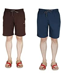 AVR Men And Boy Cotton Regular Fit Casual Wear Sports Wears Active Wear Combo Pack Of 2 Multicoloured Shorts....