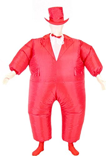 Tuxedo Tux Inflatable Chub Suit Kostüm, Red, One Size Fits Most Teens