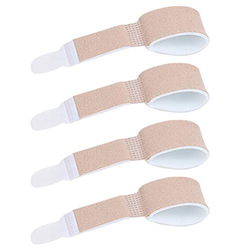 Artibetter Zehenbandage Zehenschutz Fingerschiene Zehenschiene Hammerzehen Zeh Schiene Bandage für Finger Hammer Toe Zehen Separator 4 Stücke (Khaki)