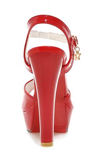 YE Damen High Heels Plateau Lackleder Peeptoes Sandalen mit Riemchen Roter Sohle Pumps Schuhe Rot