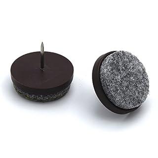 40 Stück mai® Filzgleiter Kunststoff mit Nagel, braun Ø 20 mm
