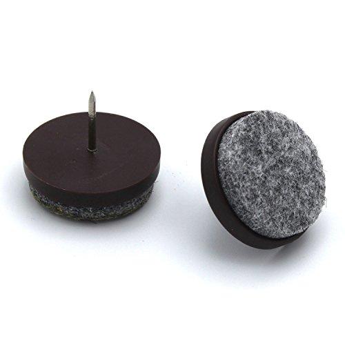 40 Stück mai Filzgleiter Kunststoff mit Nagel, braun Ø 20 mm