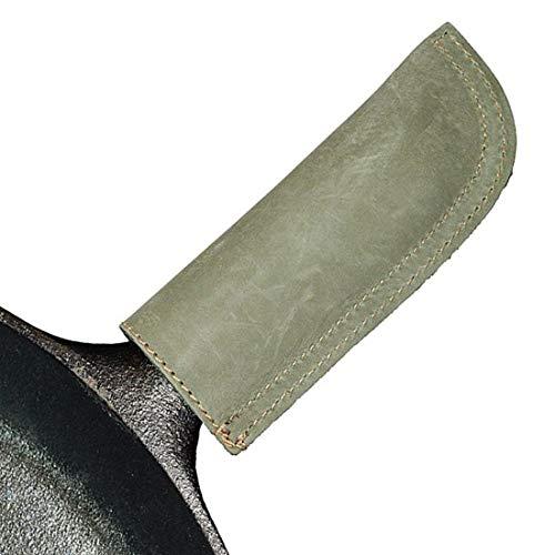 Hide & Drink Rustikale Leder-Hot-Griff-Halter (Gusseisen, Pfannengriff, Topflappe) doppellagig, doppelt genäht und handgefertigt Torfmoos (Leder Gusseisen-griff)