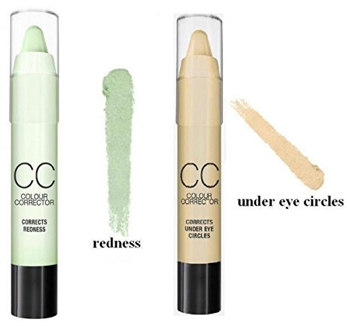 LyDia� CC Colour Corrector Concealer Stick 6pcs set -- Highlighter/Corrects Redness/Corrects Dark spots (Light, Dark)/Corrects under eye circles/Corrects dullness (CC 6 shades set)