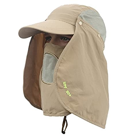 Outdoor UPF 50+ Protection Wide Visor Fishing Hat Breathable Quickly Dry Sun Cap with Removable Sun Shield Mask, Khaki