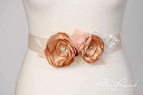 Brautgürtel Bridal gown Gürtel Brautkleid Chiffon apricot lachs nude G21