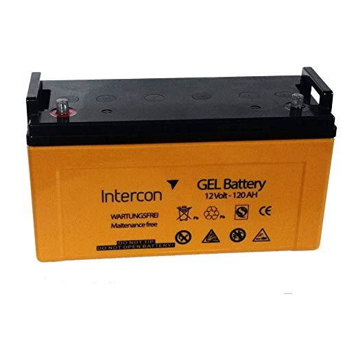 Intercon Premium Solar Gelbatterie 12V 120ah - Versorgungsbatterie Boot Wohnwagen Batterie