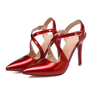 LvYuan Sandali-Ufficio e lavoro Formale Serata e festa-Con cinghia-A stiletto-PU (Poliuretano)-Nero Rosa Rosso Red