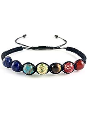 GOOD.designs Chakra Perlen-Armband aus Lava-Natursteinen / mit Seil und allen 7 Chakra