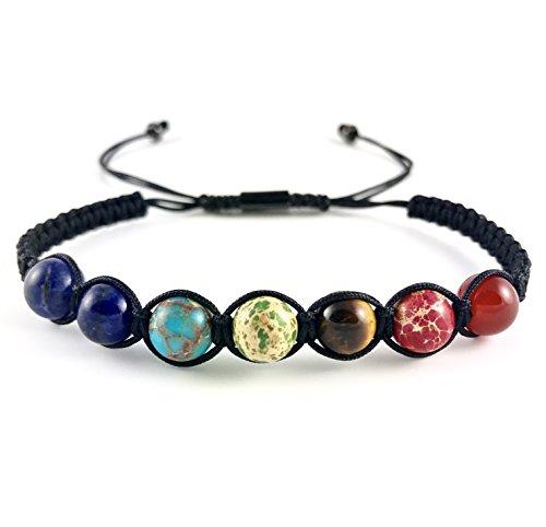 Good.designs, bracciale con perline e sette chakra in vere pietre naturali, bracciale dell'energia per uomo e donna con tutti i 7 chakra principali, 7 chakra seil, 16 - 20 cm
