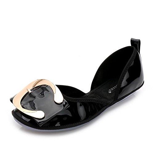 Material Schwarz Flache Auf Damen Schuhe Aalardom Ziehen metallisch Rein Weiches Lackleder xRgYTwCq