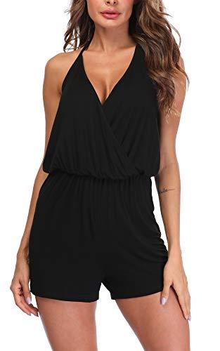 MISS MOLY Combinaison Femme Combishort Sexy Dos Nu Casuel Romper Jumpsuit Col V Playsuit Short Playsuit Noir Larg