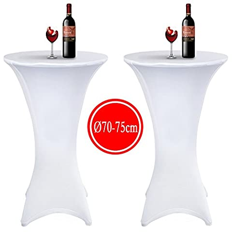 Acelectronic 2 PCS Stretchy Spandex Table Cover Cocktail Tablecloth for Ø 60-65cm, 110cm High Poseur Table With 4 Legs Base, Meeting Wedding Event Decoration - Elastic White (Ø