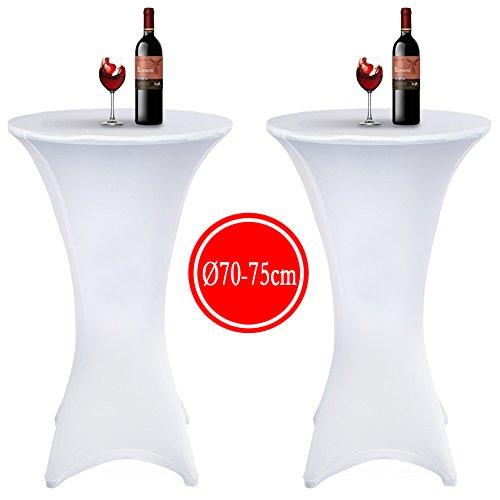Tischdecke 2 Stück, Acelectronic Stretchy Tischhussen für Stehtische/Bistrotisch/Tischdurchmesser Ø 60-65cm in Weiß - Tisch Husse für Feiern Veranstaltungen Hochzeit Dekoration - Eleganter Tischüberzug für Tische mit 4 Füßen (Ø 60-65cm, Weiß) (Ein Stück Hussen)