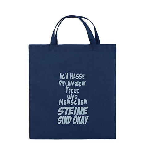 Comedy Bags - ICH HASSE PFLANZEN TIERE - Jutebeutel - kurze Henkel - 38x42cm - Farbe: Schwarz / Silber Navy / Eisblau